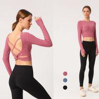 bra esporte wireless seco venda por atacado-Novos esportes beleza volta ioga T-shirt manga comprida mulheres magras cruzadas de fitness esportes com almofada no peito