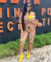 kadın pantolonu ayarla toptan satış-Haki Mektup Baskı Iki Parçalı Set Eşofman Kadın Uzun Kollu Ceket ve Pantolon Eşofman 2 Parça Kıyafetler Eşleşen Setleri Spor suit