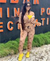 survêtements en polyester pour femmes achat en gros de-Kaki Lettre Imprimer Ensemble Deux Pièces Survêtement Survêtement Femme Veste À Manches Longues Et Pantalon Survêtement Costume 2 Piece Ensembles