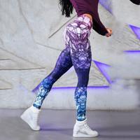 neue mix-print-leggings großhandel-Farbe mischen hohe taille yoga hosen drucken sport leggings 2019 sexy leggins sport frauen fitness nahtlose leggings neue gym # 980675