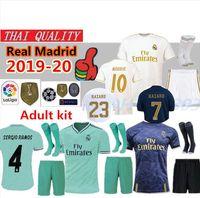 uniforme de fútbol deportivo al por mayor-2019 Real Madrid HAZARD camisetas de fútbol EA SPORTS JERSEYS 18 19 20 Local Visitante MODRIC MARCELO 2020 Mariano VINICIUS JR KROOS ISCO ASENSIO RAMOS BALE MARCELO Kits Shirts