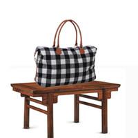 Wholesale red plaid handbags resale online - Big Plaid Duffel Bags Men Women Checkered Travel Portable Large Capacity Luggage Bag Casual Handbag Designer Sports Yoga Fitness Tote