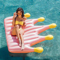 Wholesale pvc beds for sale - An Crown Golden Inflatable Floats Enlarge Thickening Floating Bed Red Rose Pink PVC Eco Friendly Summer Beach Fashion Hot Sale stI1