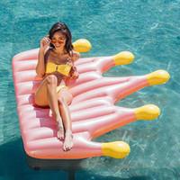 taç giyimi toptan satış-Bir Taç Altın Şişme Yüzen Büyüt Kalınlaşma Yüzen Yatak Kırmızı Gül Pembe PVC Çevre Dostu Yaz Plaj Moda Sıcak Satış 60stI1