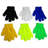Wholesale hot fingers mittens resale online - Children Winter Gloves Boys Girls Magic Kintted Finger Glove Kids Warm knit Mittens Candy Color Gloves Students Outdoor Glove Mitten INS Hot