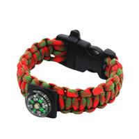 pulseira pulseira de resgate venda por atacado-Nova Corda De Emergência Ao Ar Livre Com Apito E Bússola Resgate Acampamento Paracord Pulseiras Homens Sobrevivência Fivelas Inoxidável L2 Novo