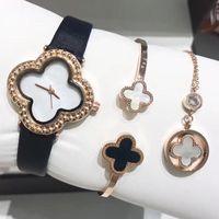 Wholesale date necklace for sale - Group buy women watches luxury watch Bracelet necklace three piece designer watches quartz movement watches leather strap Wristwatches Montre de luxe