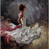 pinturas de seda al por mayor-Mujer pintada a mano pinturas al óleo White Silk Beauty lienzo arte para decoración de pared