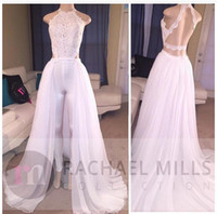 Wholesale sexy crystal lace wedding dresses resale online - White Keyhole Lace Jumpsuits Chiffon A Line Wedding Dresses Cheap Sleeveless Backless Full Length Summer Beach Bridal Dress