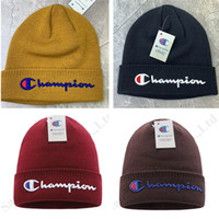 Wholesale christmas ear cuffs resale online - Women Knit Hat Skull Caps Men Brand Champion Knitted Beanie Embroidery Cuffed Warm Ear Muffs Winter Sports Outdoor Skiing Cap C120602