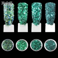 esmalte de uñas verde azul al por mayor-Zziell 1 Caja / 1 Conjunto 3D Nail Green Blue Mix 1mm Nail Glitter Powder Sequins Powder Colorful Art Decoration para Gel Polish