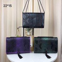 siyah püsküllü omuz çantası toptan satış-BOX ile Tasarımcı çanta Püskül metal zincir gümüş siyah lüks Çanta Renkli deri dokusu Gerçek Deri çanta omuz çantaları