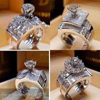 anillo de plata 925 de piedra grande al por mayor-Pop Goood4store Cristal Mujer circón anillo de bodas del sistema de la moda 925 anillo de dedo de plata de piedra grande de la promesa de novia anillos de compromiso para las mujeres
