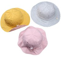 kore şapka bebek kız toptan satış-Bahar 2019 çocuk şapka yeni Kore versiyonu çift taraflı bebek balıkçı'nın şapka kızın pelvik HAT bebek güneşlik kap WL379