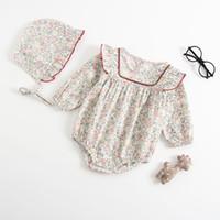 pu-overall großhandel-2019 Säuglingsbabykleidung Blumendruck Strampler Overall mit Hut PU-Besatz Babykleidung 100% weiche Baumwolle Frühling