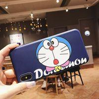 doraemon telefonlar toptan satış-Karikatür cep telefonu kılıfı için iphone x 7/8 XR 7 artı / 8 artı Renkli baskı Doraemon Cep telefonu koruyucu kılıf
