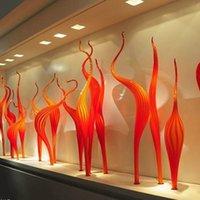 ручная скульптура оптовых-Ручной работы муранского стекла Камышовый торшер оранжевый стекло скульптура высокое качество 100% рот выдувное стекло скульптура для партии сад