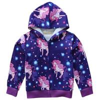 девушки розовые весенние пальто оптовых-Детские весна осень единорог пальто молния розовый с длинным рукавом с капюшоном топы мультфильм печатных каваи пальто девочки