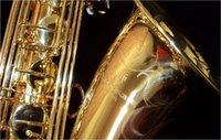 pirinç müzik aleti toptan satış-YANAGISAWA T-902 Bb Tenor Saksafon Profesyonel Pirinç Altın Lake B Düz Müzik Aletleri Sax Durumda Ağızlık ile