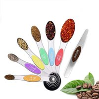 7pcs set Magnetic Measuring Spoons with Leveler Stainless Steel Double-Sided Measuring Spoons Set for Cooking Baking WB2141
