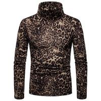 yüksek tops leopar baskısı toptan satış-Kış Erkekler Leopar Baskı Yüksek Boyun Uzun Kollu Jumper Slim Fit Kazak Üst