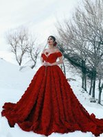 Wholesale vintage rose beach for sale - Group buy 2020 New Arrival Elegant Red Wedding Dresses Off Shoulder Full Rose Flowers Backless Chapel Train Plus Size Middle East Formal Bridal Gowns