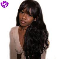 peluca negra ondulada flequillo al por mayor-Peluca llena brasileña del pelo humano brasileño de la simulación de la alta calidad con las pelucas onduladas del cuerpo largo negro / marrón / gris de la explosión para las mujeres afroamericanas negras