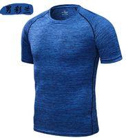 schnell blau großhandel-Joggingbekleidung Fitness Wear Blue Quick Dry T-Shirt