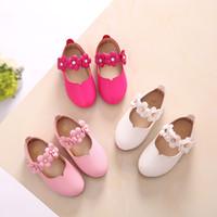 zapatos de vestir de niña rosa niños al por mayor-White Pink Kids Baby Toddler Flower Niños Wedding Party Dress Princess zapatos de cuero para niñas School Dance Shoes 1-16y