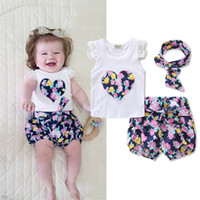 Wholesale girls clothing online - Newborn Kids Baby Girls Clothes Set Summer Outfits Girl Costume Children Clothing T shirt Tops Denim Pants Summer Set