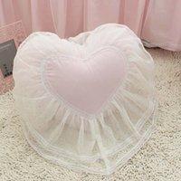 almofada de casamento em forma de coração venda por atacado-Top Coração doce em forma de almofada de casamento cama travesseiro princesa Lace Ruffle almofadas coussin menina almofadas do sofá de tecido 100% algodão