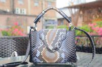 python çanta toptan satış-tasarımcı lüks çanta çanta L kadınlar en kaliteli hakiki deri Piton derisi tasarımcı çanta cüzdanlar totes