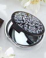 ingrosso elegante specchio bianco nero-Il trasporto libero 100 parti / lotto eventi e omaggi partito damasco elegante nero specchio da trucco per Weddingt favori