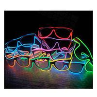 el tel pc toptan satış-LED EL Tel Gözlük Işık Up Glow Güneş Gözlüğü Gece Kulübü Parti için Gözlük Shades ZZA240 yanıp sönen LED