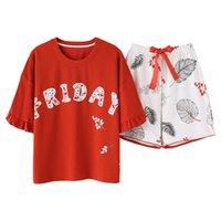 süße nachthemden großhandel-Sommer kurze gestrickte Baumwolle junge Frauen Pyjama Set süße Mädchen Brief Damen Nachthemden Hosen Pyjama Sets Nachtwäsche Pyjamas
