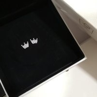 corona de plata de ley al por mayor-NUEVO Magic Crown Stud EARRING Original Box set para Pandora 925 Sterling Silver Cute Girls Fashion Earrings