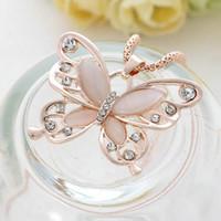ingrosso collana opalina della farfalla-Monili della collana della catena del maglione del pendente della farfalla intarsiata del Rhinestone delle donne