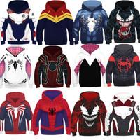 hoodies do homem de aranha dos meninos venda por atacado-12 Estilo Rapazes Raparigas Spider-Man Into the Spider-Verse Hoodies 2019 New Children Spiderman Venom mangas compridas 3D Hoodies roupas infantis