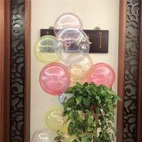 globo claro de la boda al por mayor-18 pulgadas Cristal Transparente BOBO Globos Coloridos Bolas Inflables Matrimonio Boda Fiesta de Cumpleaños del Favor de Decoración Suministros nuevos A41002
