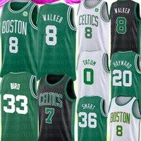 36 jersey venda por atacado-8 Kemba Walker Mens Universidade Jersey NCAA Larry 33 Pássaro Jersey Jayson 0 Tatum Jaylen 7 Brown 20 Hayward 36 inteligente Basketball Jerseys