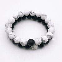 Wholesale onyx turquoise bracelet resale online - 10mm Matte White Howlite Matte Black Onyx Beads Bracelet Gemstone Bracelet Turquoise Round Beads Elastic Bracelet Bracelet