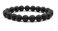 cuentas de roca negra al por mayor-10mm Negro lava piedra natural perlas pulseras de las mujeres de la roca volcánica del ojo del tigre del filamento del grano pulsera hombre regalos de la joyería