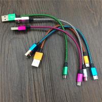 paño micro usb cable al por mayor-20CM 1M 2M 3M Tejido redondo Nylon Cable micro USB trenzado para Samsung Para Blackberry para HTC Cable trenzado de tela