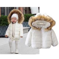 kızlar uzun boynuzlu kışlık ceket toptan satış-Çocuk Dış Giyim Kış Büyük Kürk Yaka Kapşonlu Coat Çocuk Kız Uzun Kollu Artı Kadife Kalın Ceket çocuklar Beyaz Aşağı Giysileri