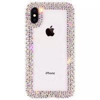 cas de téléphone couverts de diamant achat en gros de-Diamant De Luxe Designer Téléphone Cas Couverture coque Pour iPhone Xs MAX Xr 6 7 8 Plus Cas Effacer Strass Glitter Téléphone Cas