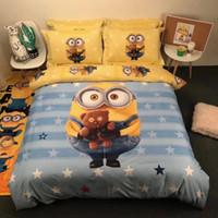 couvrir les sbires achat en gros de-Véritable linge de lit Minions 100% coton, ensemble de literie pour enfants avec 3/4 pièces