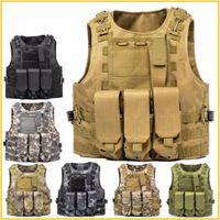 yelek avı toptan satış-Airsoft Taktik Yelek Molle Savaş Assault Plaka Taşıyıcı Taktik Yelek 7 Renkler CS Açık Giyim Avcılık Yelek