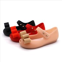 sandálias do natal das meninas venda por atacado-Mini Melissa 2019 Hot Novo estilo Baby Girl Shoes Shoes Presente de Natal PVC Verão Sandals menina Bow Design Três Cores