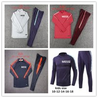 Wholesale kids train tracks online - Kids Messi Suarez soccer training suit cutino color track suit tights trainers sportswear Messi track suit Barcelonas sweater
