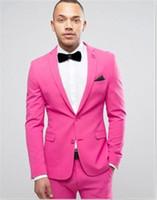 ярко-розовый костюм пиджак мужчины оптовых-Ярко-Розовый Жених Смокинги Две Кнопки Мужчины Свадебные Смокинги Notch Отворотом Куртка Блейзер Популярные Мужчины Ужин/Darty Костюм(Куртка+Брюки+Галстук)185